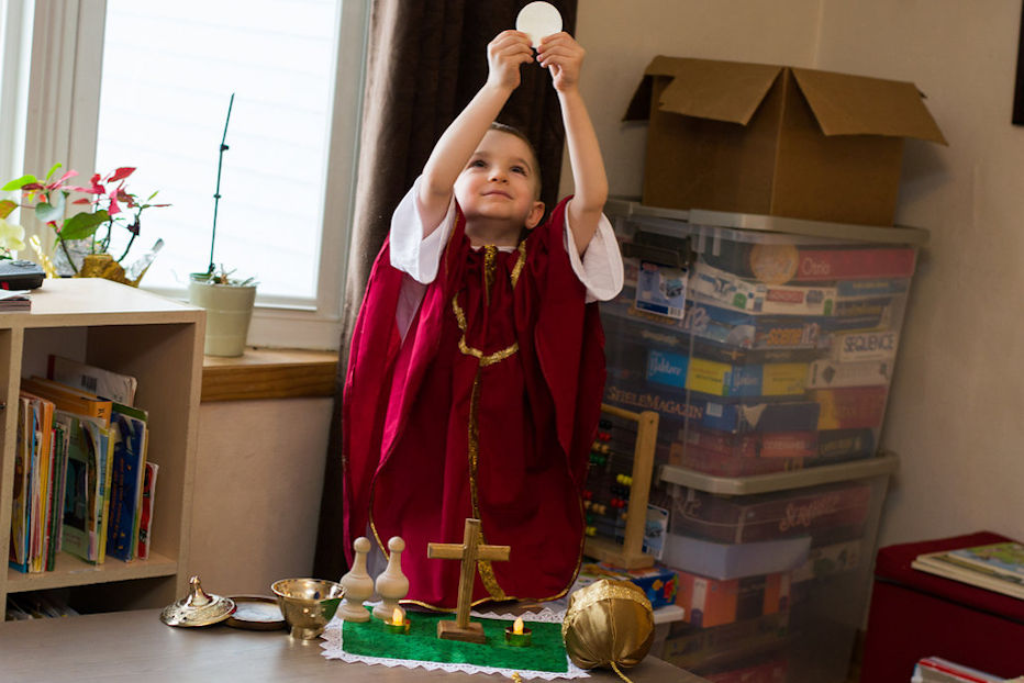 Child playing church